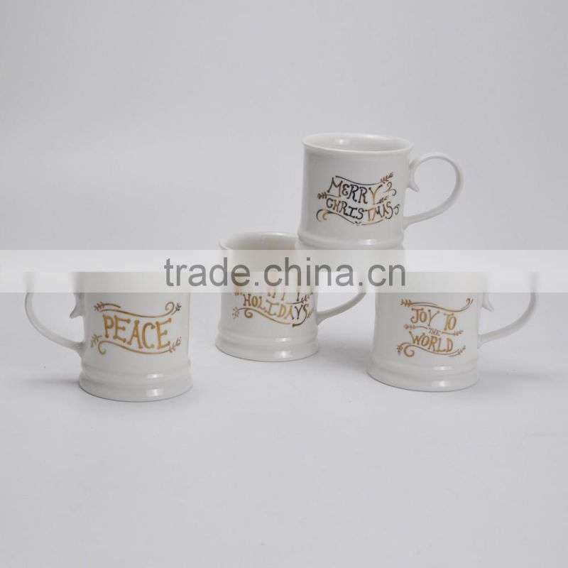 High Quality Ceramic Coffee Mug , with Golden Decal