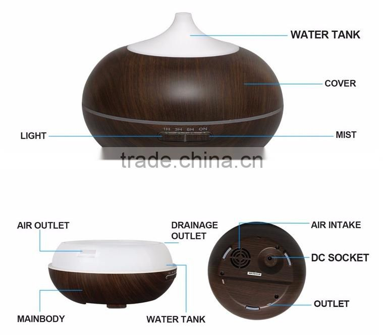 Wood grain Ultrasonic Air Humidifier 7 LED Color Changing Purifier Aroma Diffuser