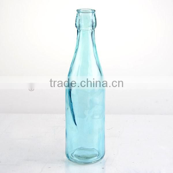 spray blue round glass milk bottle oil &rope vase