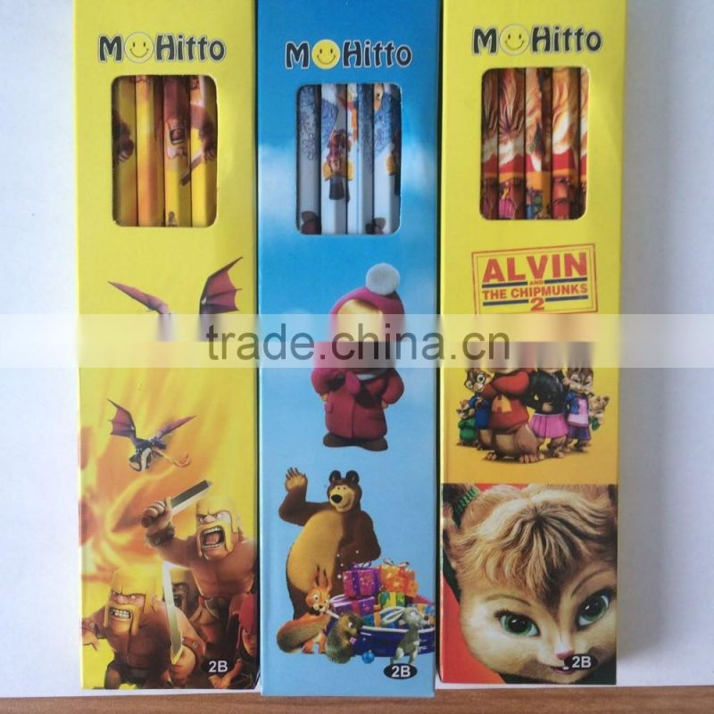 Chinese factory HB pencil standard pencils wooden pencil with eraser top