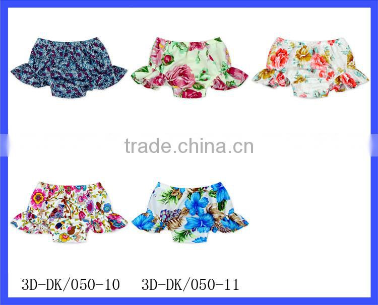 2017 Latest Design Bloomers Floral Print Cotton Shorts 0-2 Years Old Girls Baby Underwear Ruffle Diaper Bloomers