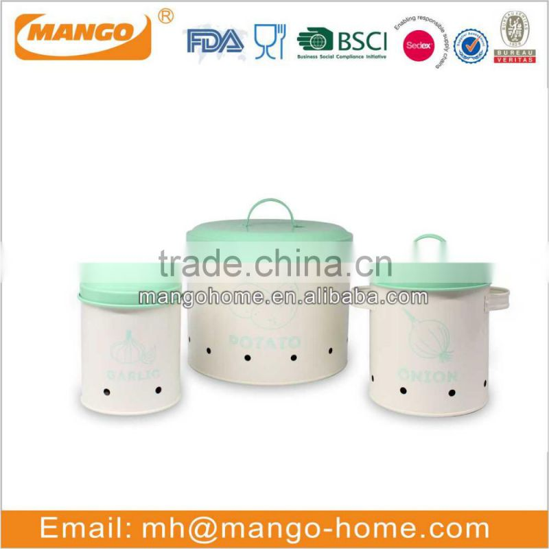 Round metal food airtight storage kitchen canister set with lid