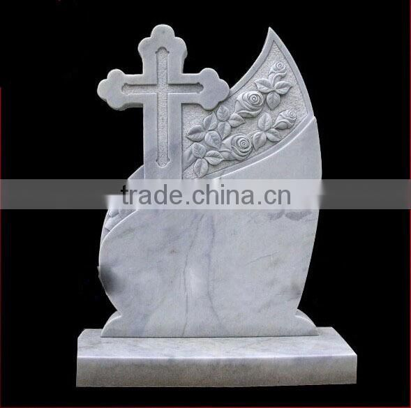 Hand carved leaf natural stone tombstone
