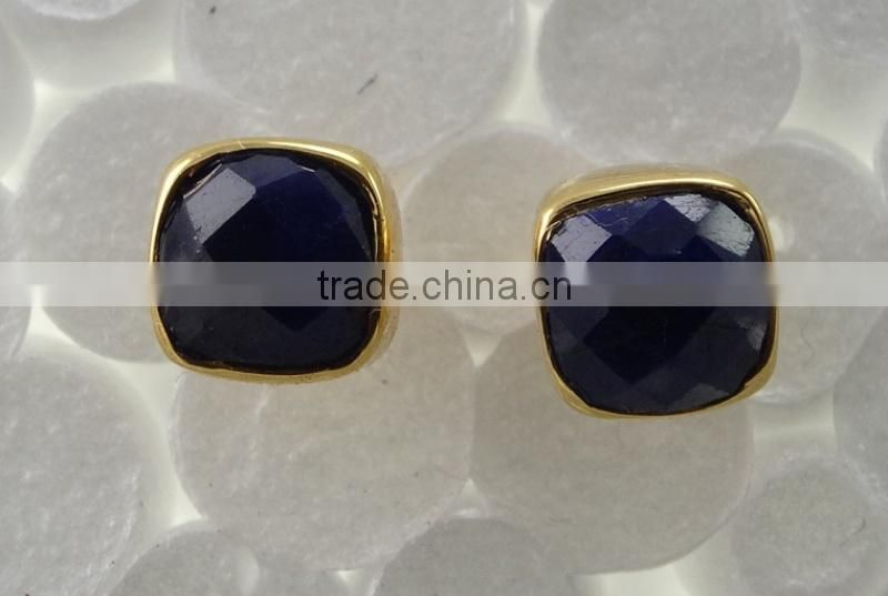 Sterling Silver Gold Plated Dyed Sapphire Stud Earring