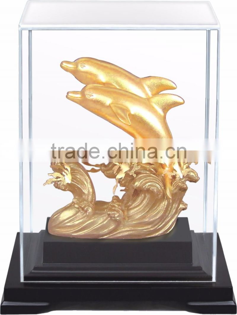 Gold foil horse statue in Display box promotion gift