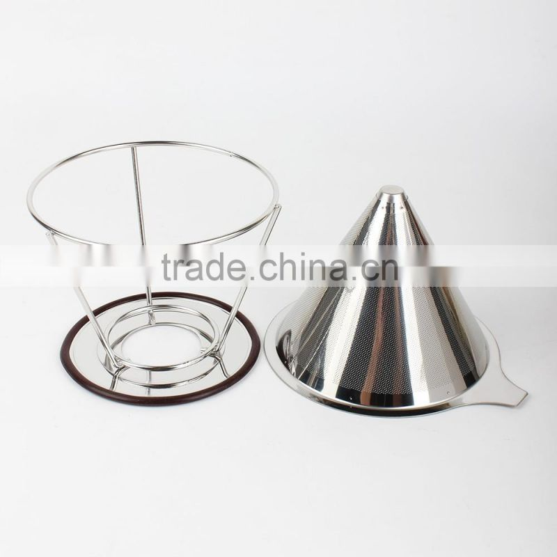 Stainless Steel Pour Over Cone Dripper Brewer,Reuseable Coffee Filter