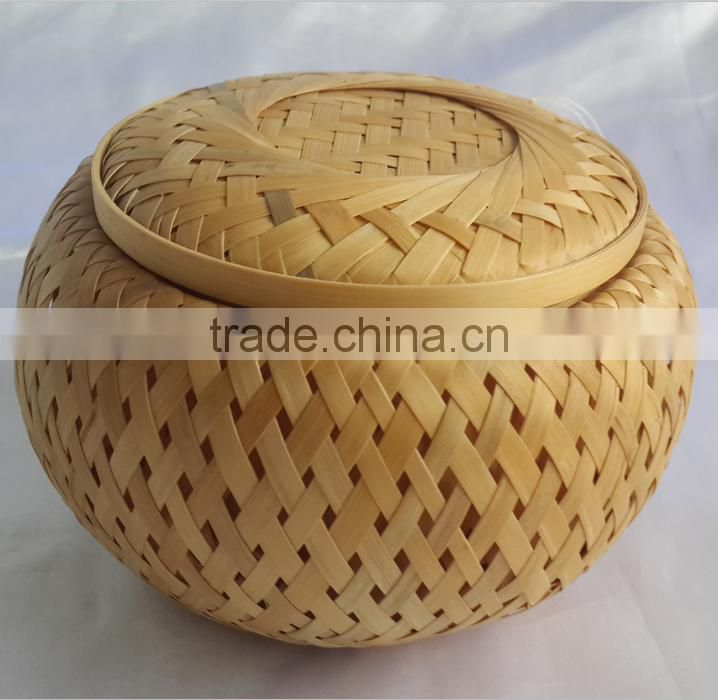 Customized Bamboo weave casket for cremaiton with lining