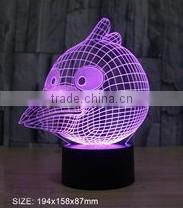3D illusion flower shape color changing USB charging night light