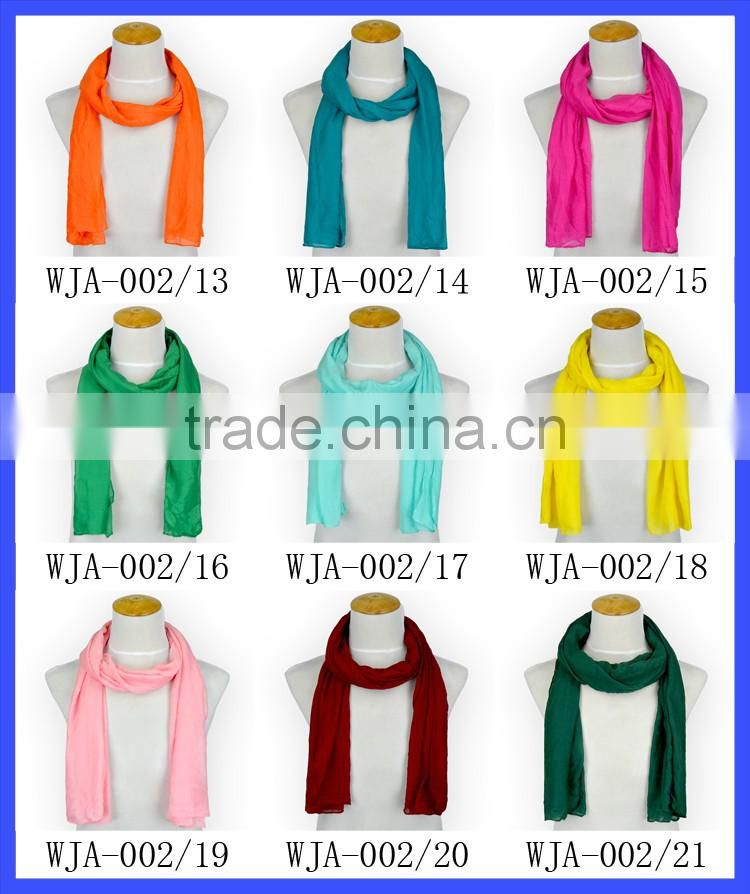 Many Colors Fashion Solid Polyester Long Scarf Women Shawl Scarf