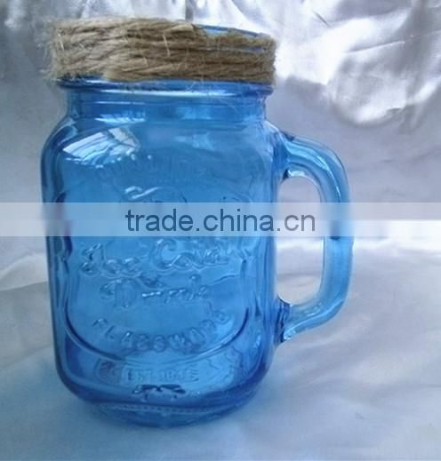 Blue Color Fruit Canning Square Pattern Handled Glass Mason Jar