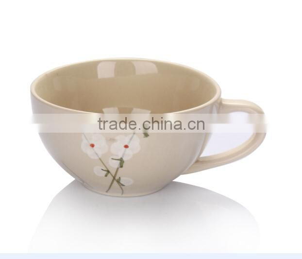 2015 New design hot selling colorful ceramic coffee cup with handle for drinking