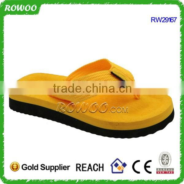 Yellow Flip Flop Slipper Width Cloth Upper High Heel Flip Flop