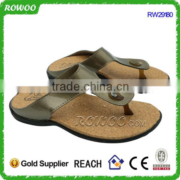 RW29180 Fashion T straps Cork Sole Slip On Sandals