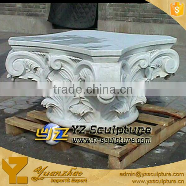 Hand Carved White Marble Pedestal for sale