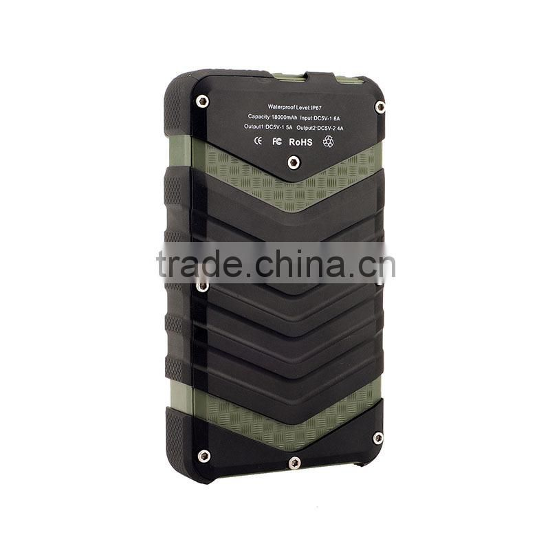 Manufacture high capacity 18000 mah power bank 5v 2a waterproof