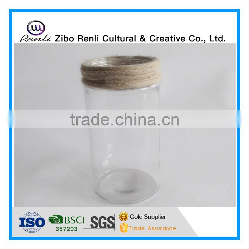 Clear Decotative Cylinder Glass Vase with Rope for Flower Arrangement
