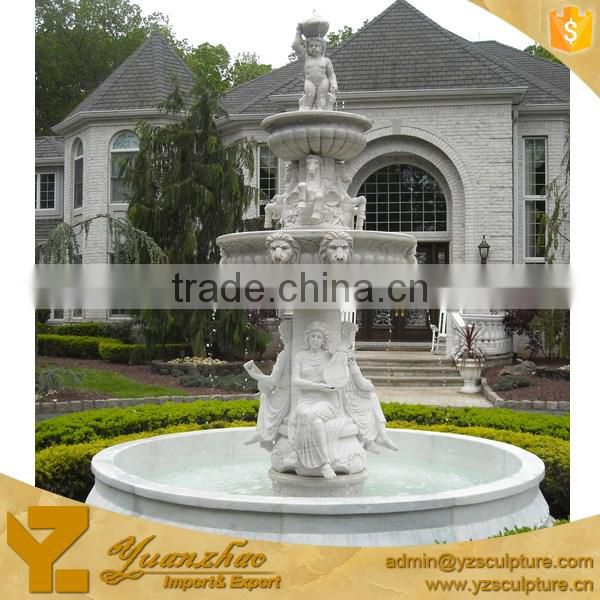large size outdoor garden lion head and fish carved stone water fountain