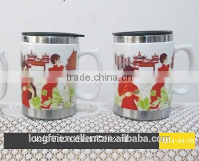 2014 durable double white ceramic cups mug with stainless inside yiwu China wholesale