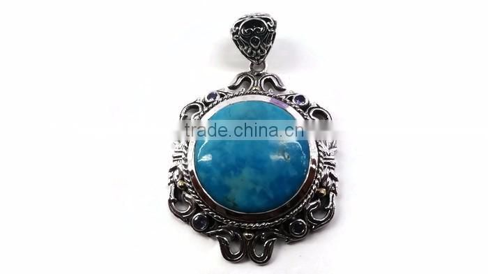 925 Sterling Silver handmade rare kingman american turquoise gemstone pendant with 18k gold accents