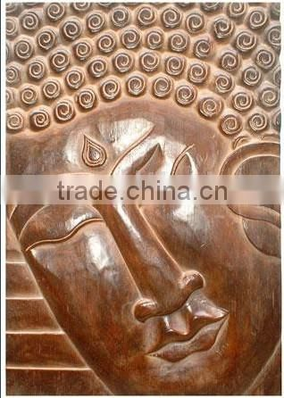 Dark Brown Polished Buddha Wooden Sculpture