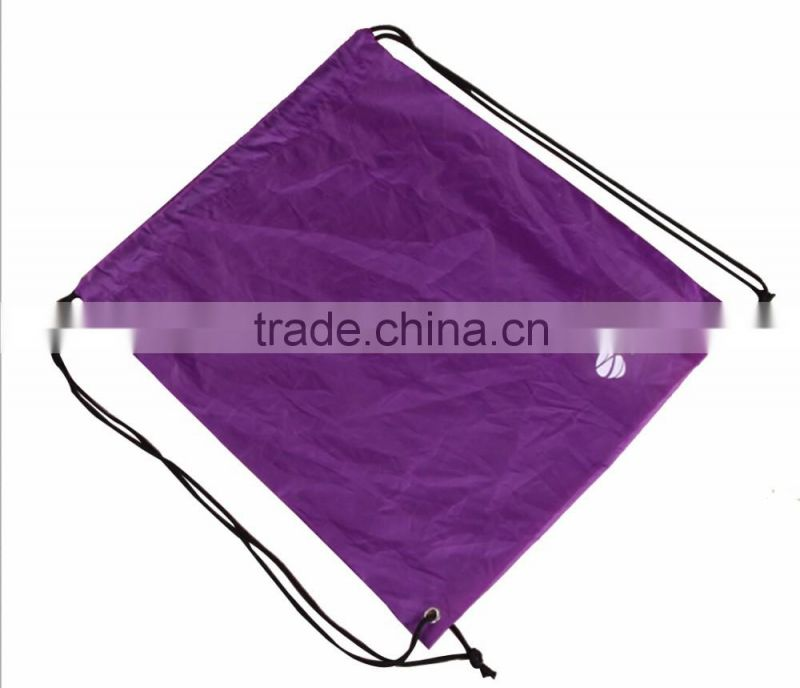 Purple colour 210D Polyester Drawstring Backpack With Simple Logo