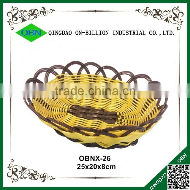 Wholesale hand woven food grade plastic bread basket