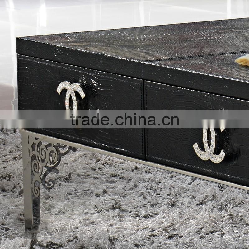 2015 new arrival stainless steel legs black crocodile pu covering center coffee table