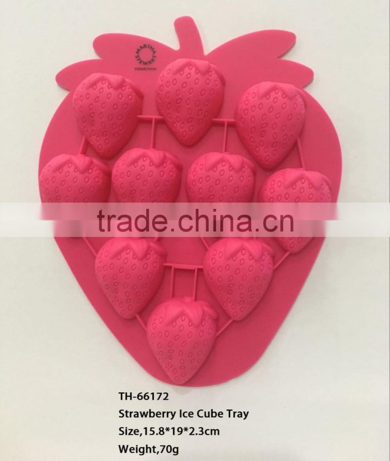 strawberry shape silicone plastic ice cube tray maker mould
