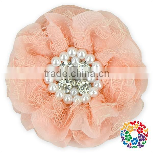 Red Chiffon Blossom Fabric Crystal Pearl Center Flowers