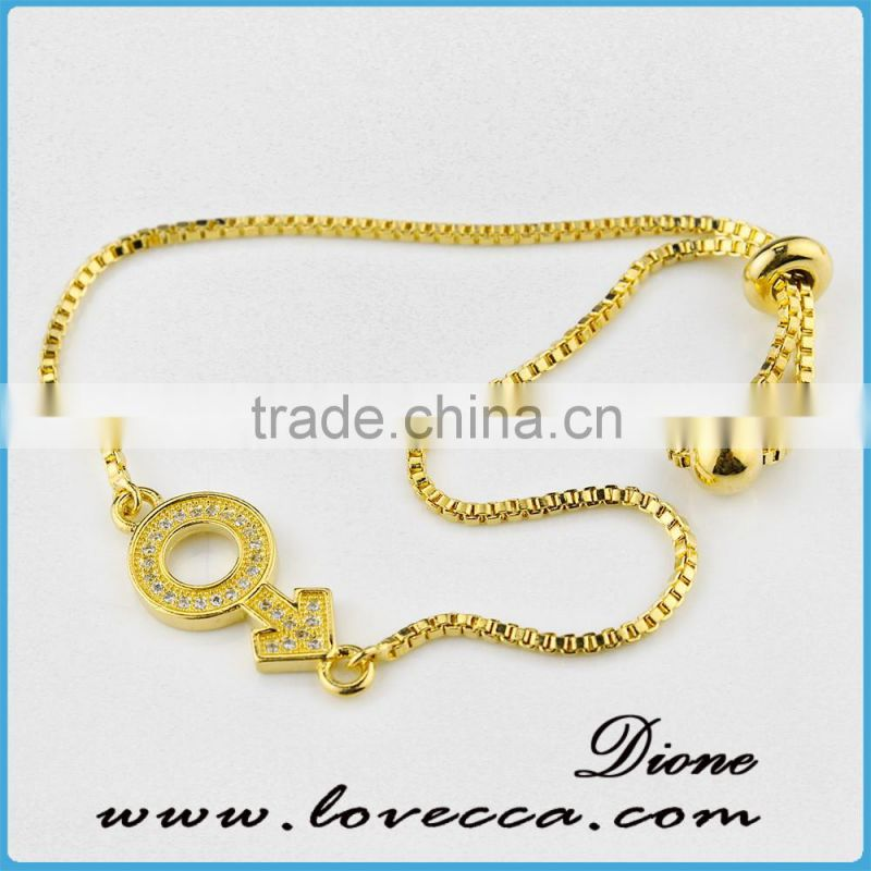 24k real gold plated Micro Pave Cubic Zirconia bracelet jewelry , gold pave link bracelet with extended chain