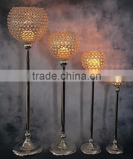 gold plated centerpiece crystal ball table decor candle holder
