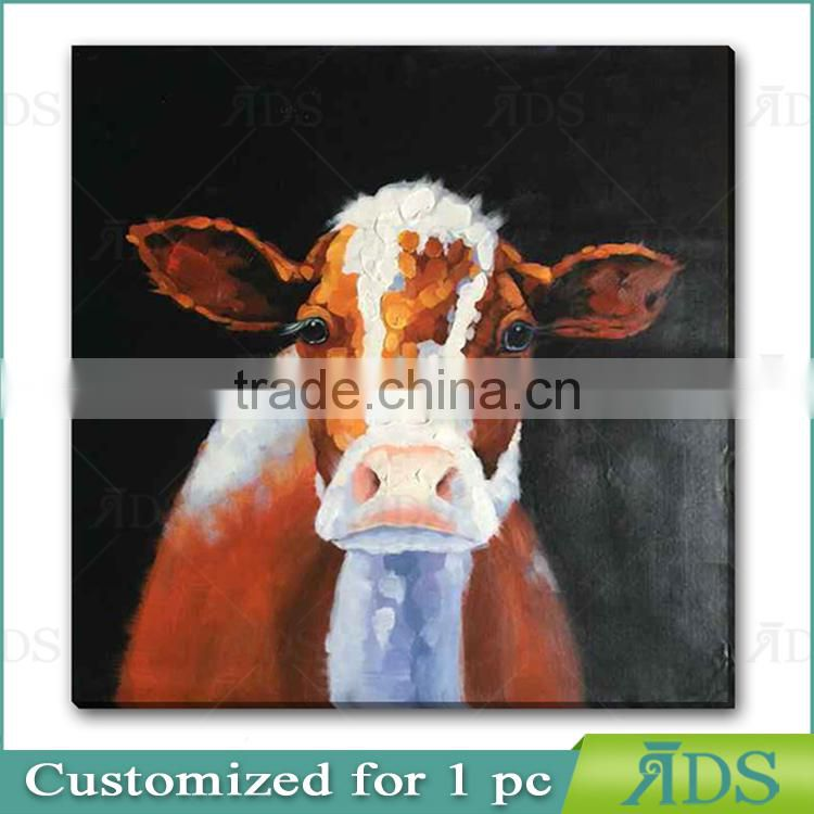 2017 amazon Hotsell 100% Hand Animal Oil Painting Brown Cow with Stretched Frame Contemporary Artwork Ready to Hang 24 x 36 Inch