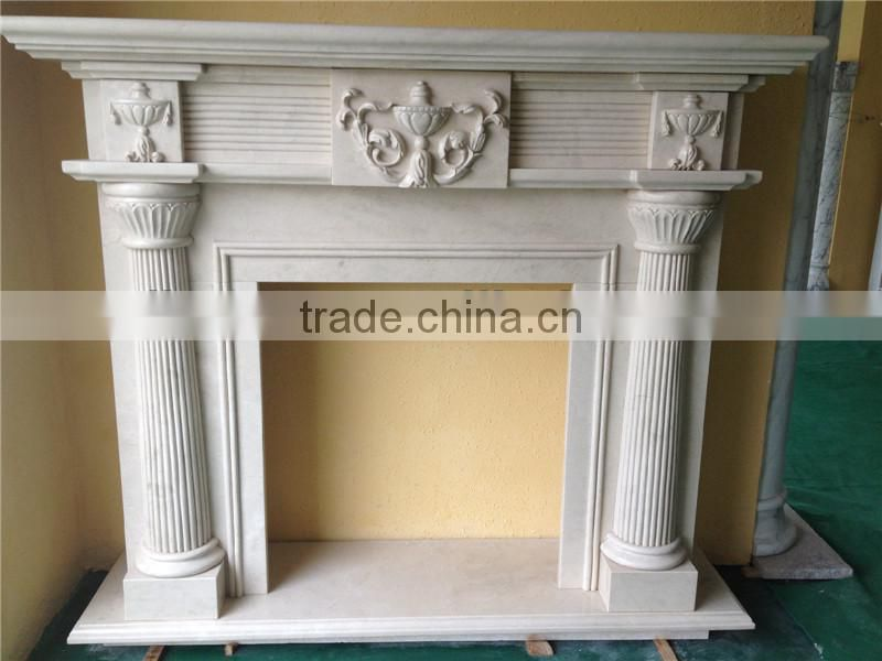 Yellow marble fireplace