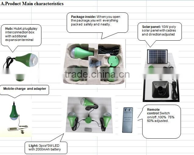 10W solar lighting kits with 3 LEDs Lithium battery inside