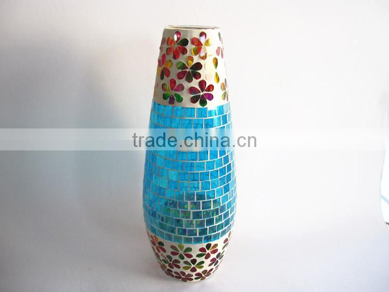 Hand Blown Flower Pattern Tall Navy Blue Vase Wedding Decoration