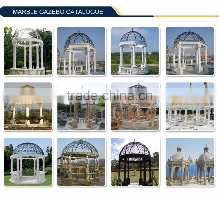 Garden Western White Stone Marble Gazebo Sculpture with Wrought steel Roof