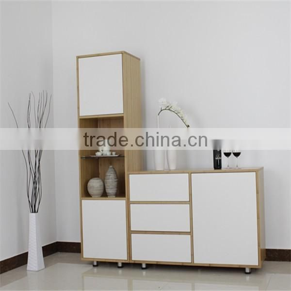 Simple style White finishing living room bamboo tall cabinet