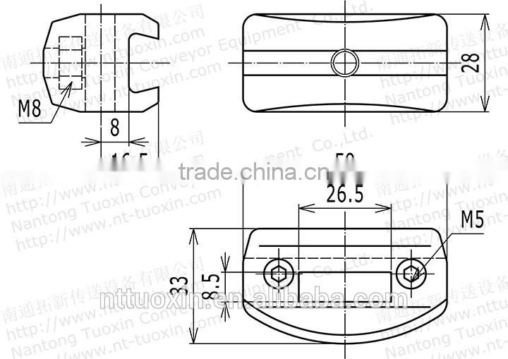 TX-122 A-Adjustable Single Guide Rail Clamps Conveyor Component