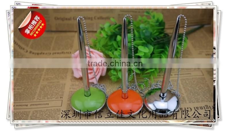 TT-13 fashionable desk pen with chain , bank pen with lovely pen stand