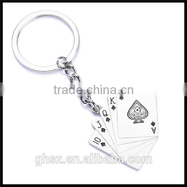New design cute playing card key chain ring company