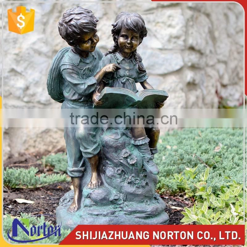 Life size antique bronze garden statue girl reading NTBH-C1041A