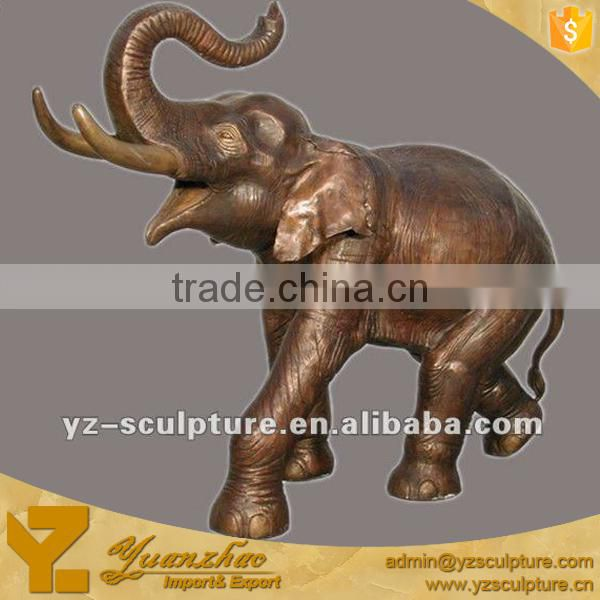 cast bronze animal statue of elephant standing for outdoor decoration