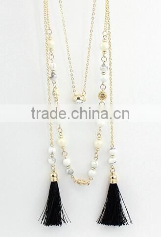 Latest design fashion 18k gold color gemstone necklace