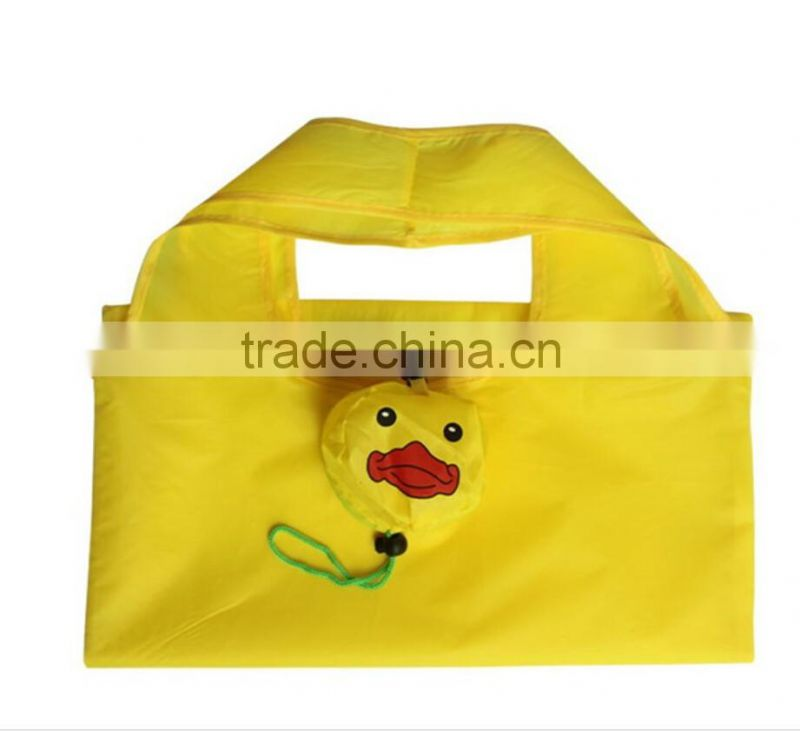 190T polyester Custom Printing Reusable folding shopping bag in duck shape