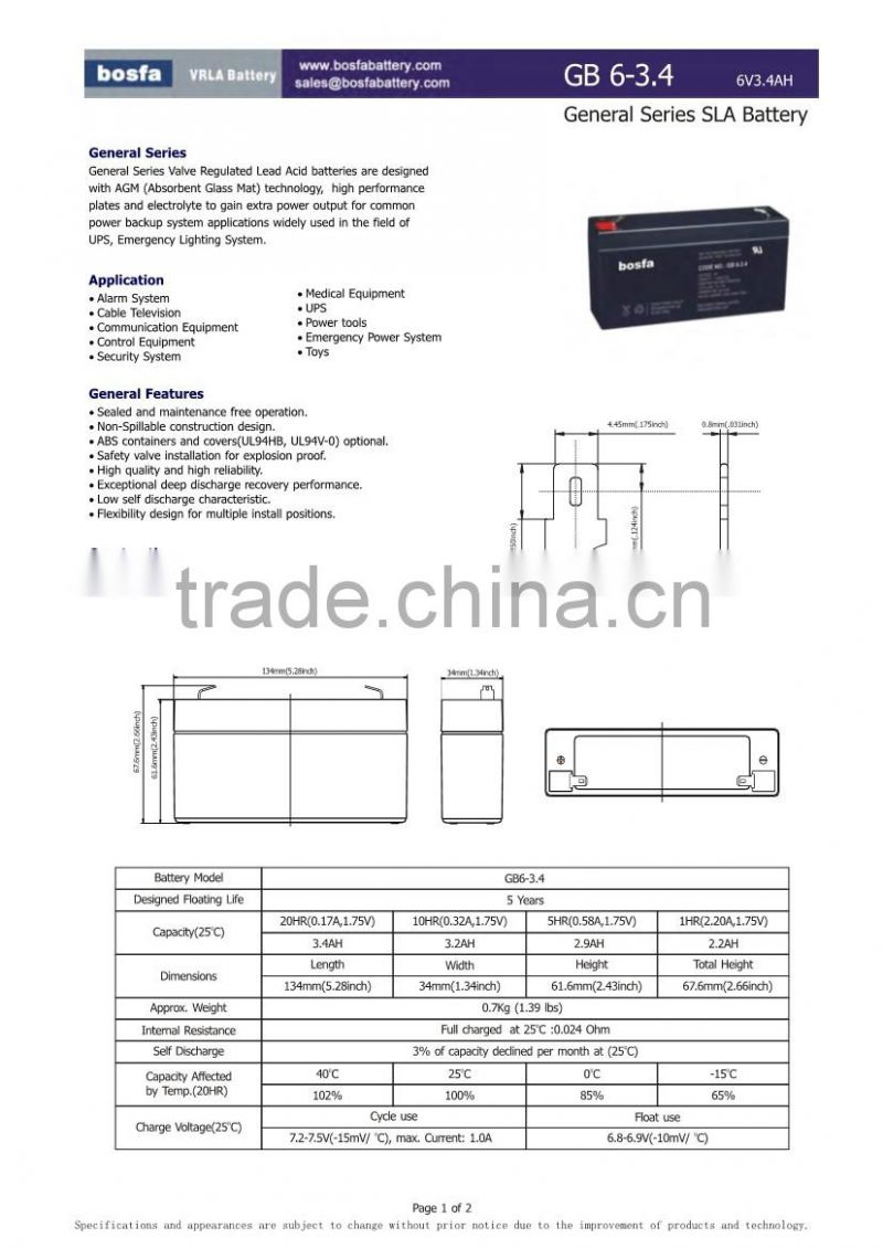 GB6-3.4 6v 3.4ah 6v3.4ah UPS battery 6v rechargeable valve regulated lead acid battery 6v sealed lead acid accumulator