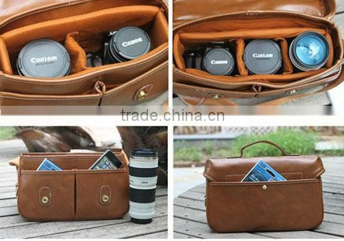 Pu leather dslr camera bag for canon nikon sony