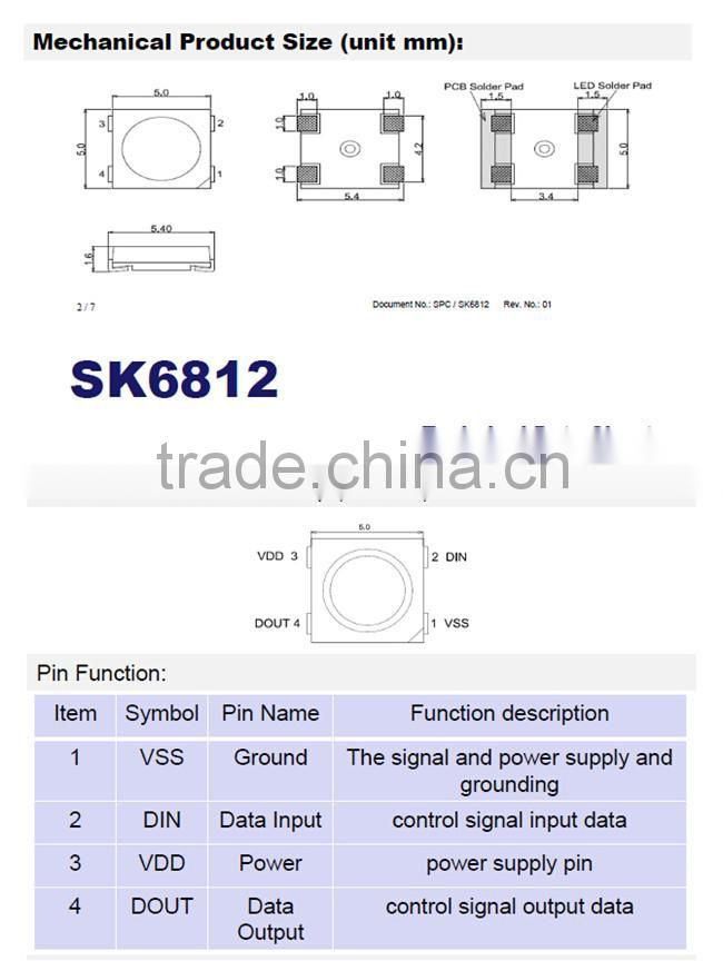 Individually control RGB SK6812 led chip