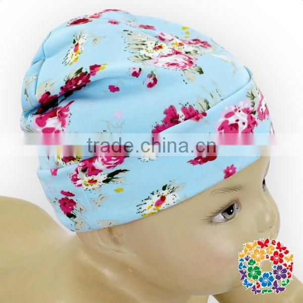 Navy Blue hot Pink Flowers Winter baby beanie hat