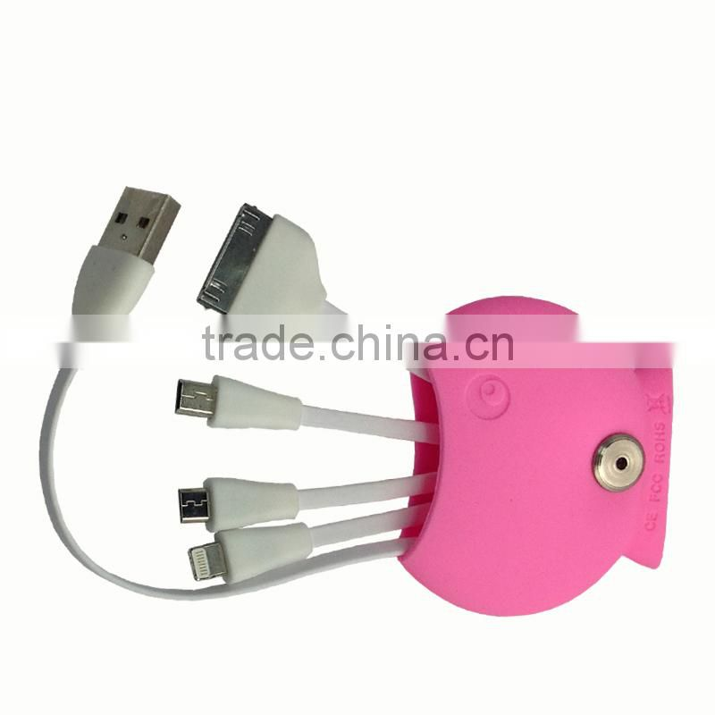 4 in 1 USB Sync Data Charger Cable Key Chain Ring For Iphone Samsung Android