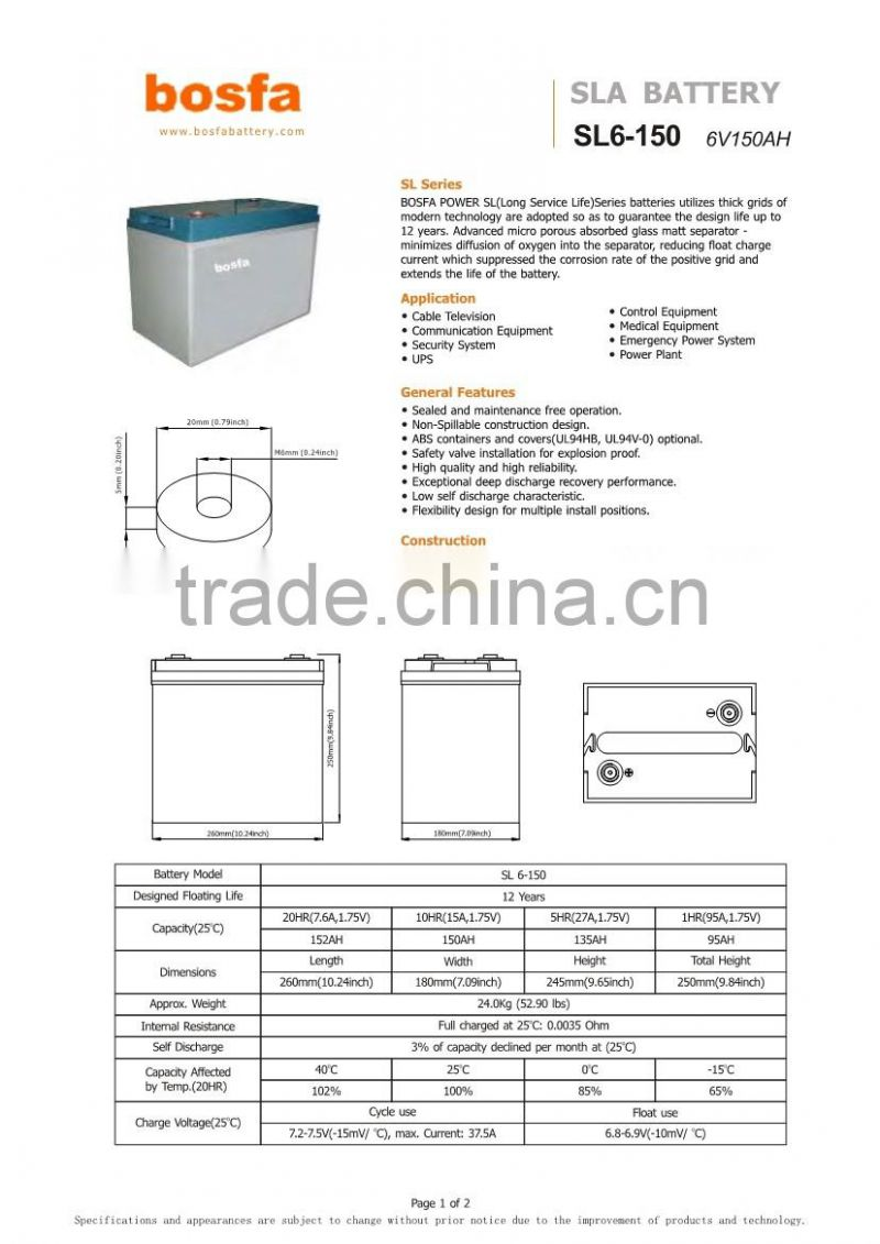 smf lead acid battery store 6v150ah rechargeable battery for led light storge sla battery